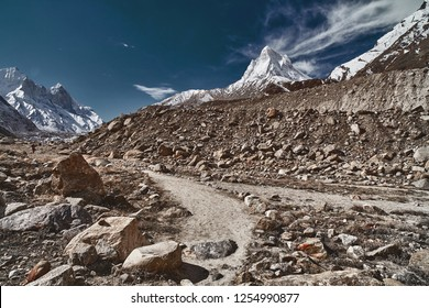 Country road in the mountains. Himalayas. Gangotri, Gaumukh, India.