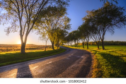 Country road on sunset time near Pannonhalma, Hungary