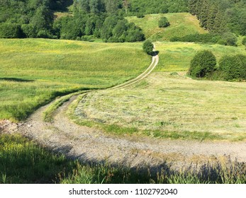 A country road over a farmers feald