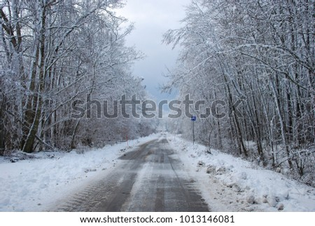 Country road with a passing place road sign surrounded with snow covered trees