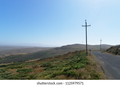 Country road in Point Reyes with power lines