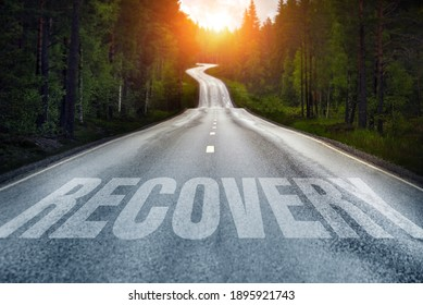 Country road and Recovery written on the road