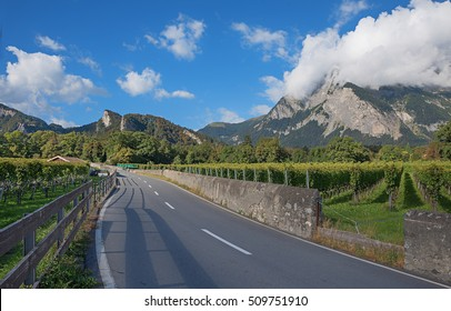 country road through heidi land, swiss alps canton grisons, maienfeld