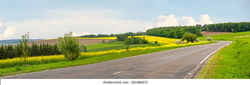 country road through hilly german landscape and blooming rape field