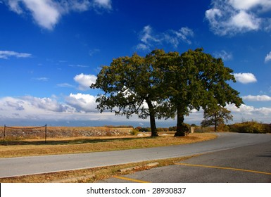 a country road under beautiful blue sky with patchy clouds