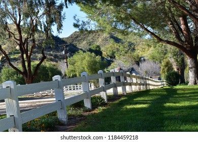 Country road with white fence and lush green pasture