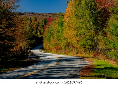 A country road winding through an autumn colored forest  near Peacham, VT