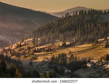 Country Rolling Hills in Romania at Sunrise