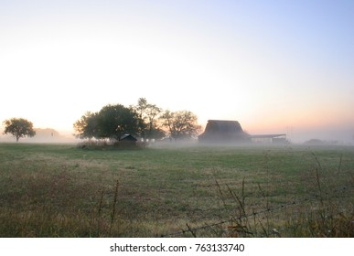 A country scene on a foggy morning in northern Oklahoma.  The ground fog is a common event due to the rivers and forest surrounding the area.