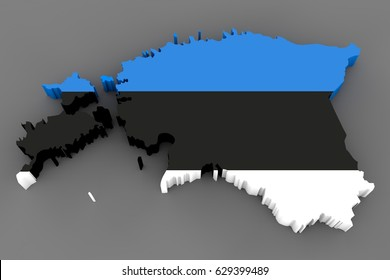 Country shape of Estonia - 3D render of country borders filled with colors of Estonia flag isolated on grey background