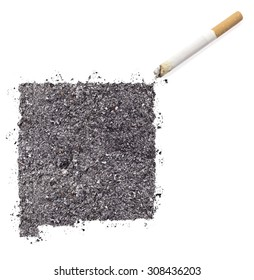 The country shape of New Mexico made of tobacco ash and a cigarette.