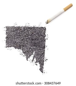 The country shape of Southern Australia made of tobacco ash and a cigarette.(series)