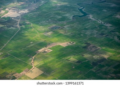 the country side and agriculture fields near the city of Siem Reap in northwest of Cambodia.   Siem Reap, Cambodia, November 2018