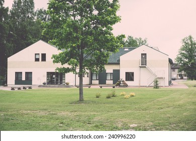 country side buildings in latvia - vintage retro look