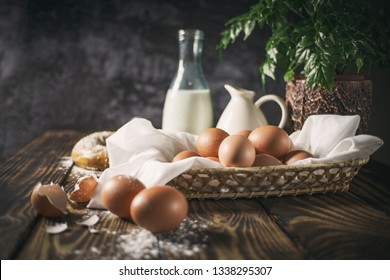 Country still life with eggs and milk