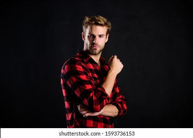 country style. charisma. western cowboy portrait. retro male fashion. Vintage style man. man checkered shirt. western. man black background. handsome man with beard. after barbershop.