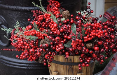country style decoration with basket and berries