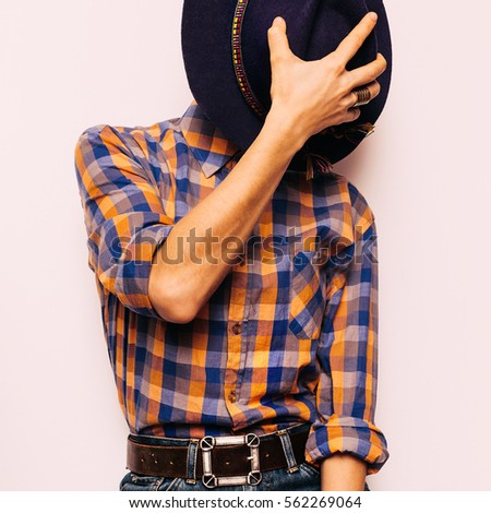 51e9e8a00c77 Country style fashion. Vintage Hat Fashion Accessory. Plaid shirt and jeans