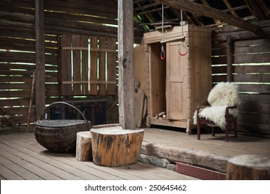 Country style interior of a barn