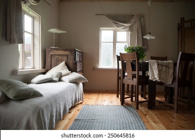 Country style interior of a bedroom