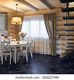 Country style kitchen interior with wooden rustic furniture and elegant lampshade over dining table in modern village house with wide curtained window, residential real estate interior of living room