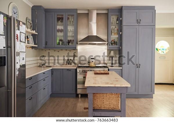 Country Style Kitchen Island Modern Appliances Stock Photo Edit