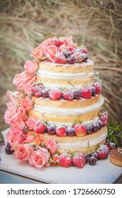 Country Style Strawberry Wedding Cake