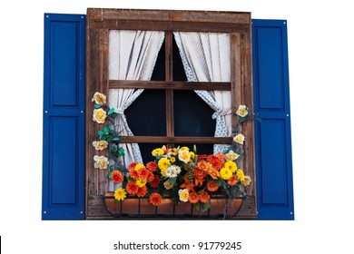 Country style window with flowers,planter, shutters and curtains, isolated