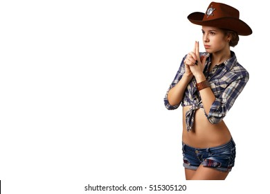 Country style. woman on a white background, isolated. girl sheriff