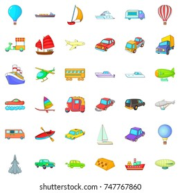 Country vehicle icons set. Cartoon style of 36 country vehicle  icons for web isolated on white background