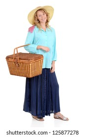 Country woman with picnic basket