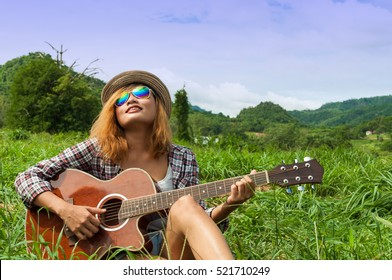 Country Women Playing Guitar Garden Happy Stock Photo Edit Now