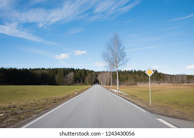 countryroad straight ahead to the forest, with traffic sign. blue sky with clouds