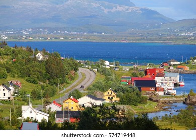 Countryside in Arctic Norway. Colorful village in Lofoten islands.