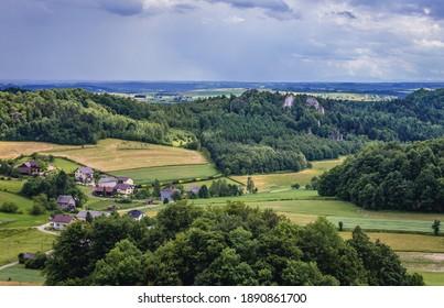 Countryside around ruins of Smolen Castle in Smolen village in Silesia Region, Poland