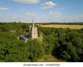 countryside church drone view Hertfordshire