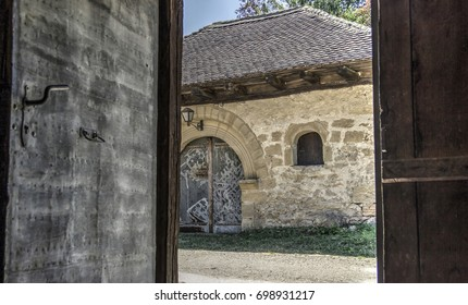 Countryside, East Serbia - A view outside through the country house door