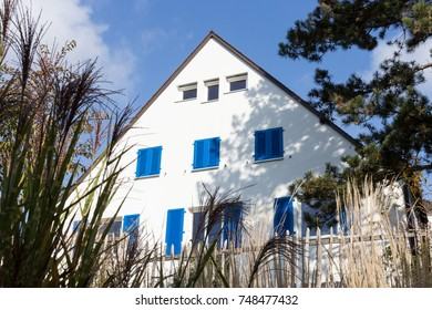 countryside facades in autumn sunny day with blue sky in south germany between stuttgart and munich