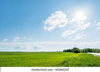 Countryside field natural background. Green grass and blue sky. Cloudscape in sunny day. Russia. - Shutterstock ID 441865237