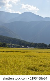 countryside field scene, mountains and rural village in autumn, Japan