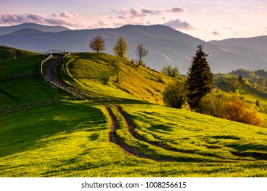 countryside with grassy slopes at sunset. wooden fence along the dirt road through rolling hills. beautiful landscape of Carpathian mountains in springtime