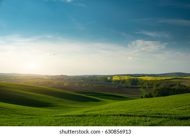 Countryside and green hills landscape