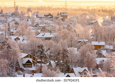 Countryside houses among pine and birch trees covered with rime near Raven mountain, St. Petersburg suburb, Russia