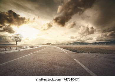 countryside landscape and asphalt road