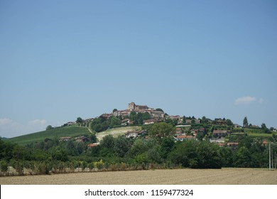 Countryside landscape in the Langhe overlooking the village Roddi, Piedmont - Italy