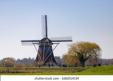 Countryside landscape view with beautiful traditional Dutch windmill under blue sky, Sunny day in spring with green grass on the field along the Gein river near Abcoude, Netherlands.
