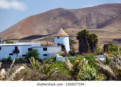 Countryside in Lanzarote Island. Canary Islands. Spain. Farmhouse and the hill in background
