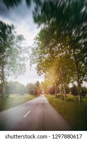 Countryside road view with motion blur