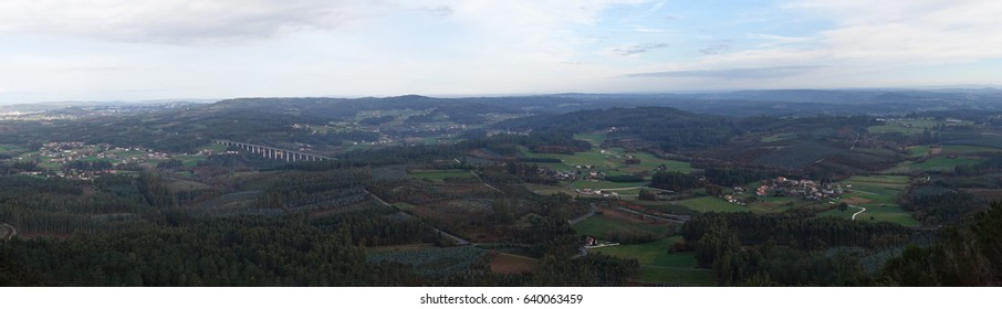 Countryside seen from the top of Pico Sacro, a summit in the central Galician massif, in Galicia, Spain. According to the legend, this was going to be the grave of the apostle Saint James the Great