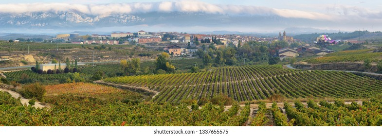 countryside town of elciego in la rioja with marques del fiscal winery at background, Spain